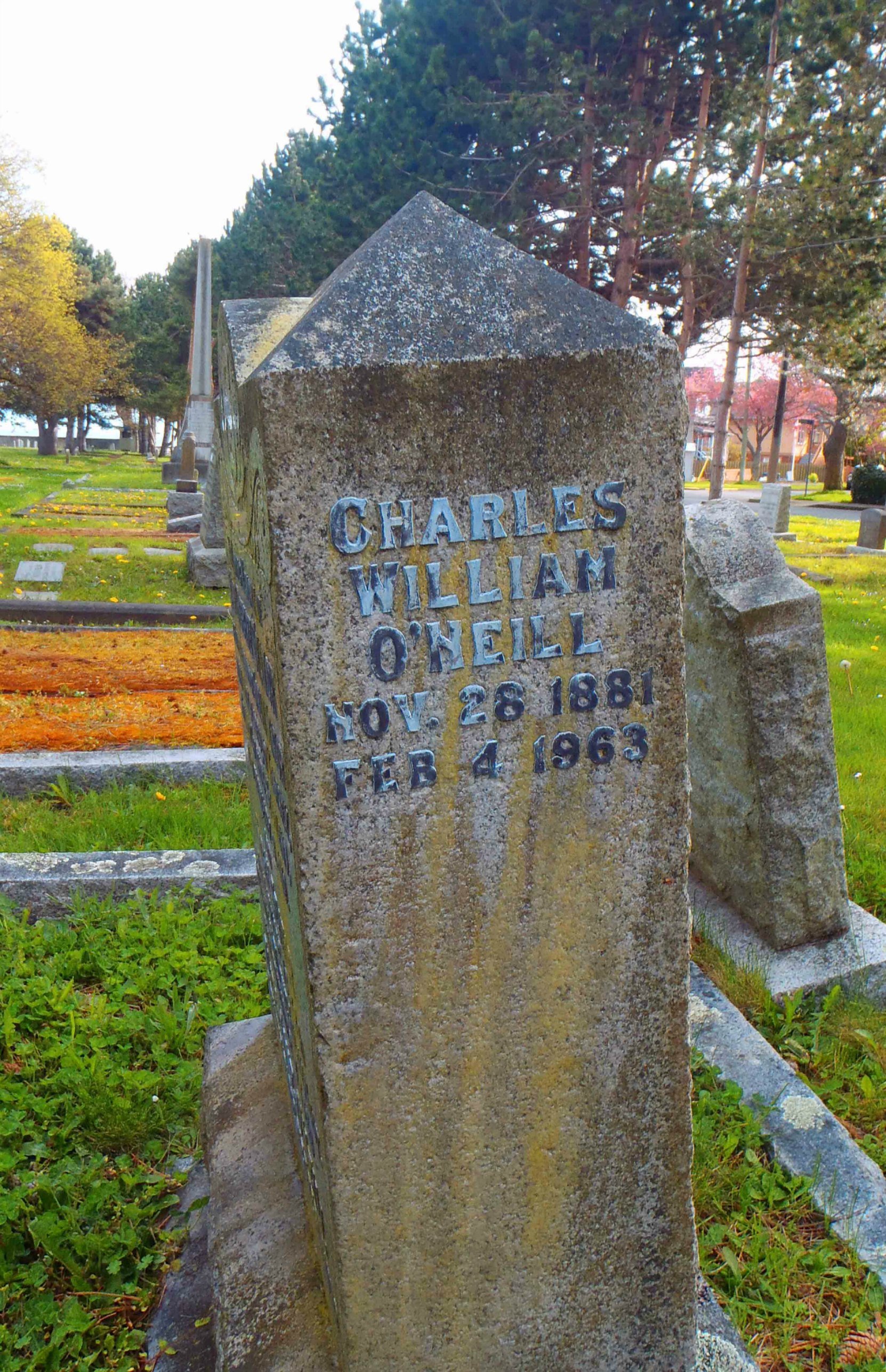 Charles William O'Neill headstone, Ross Bay Cemetery, Victoria, B.C.