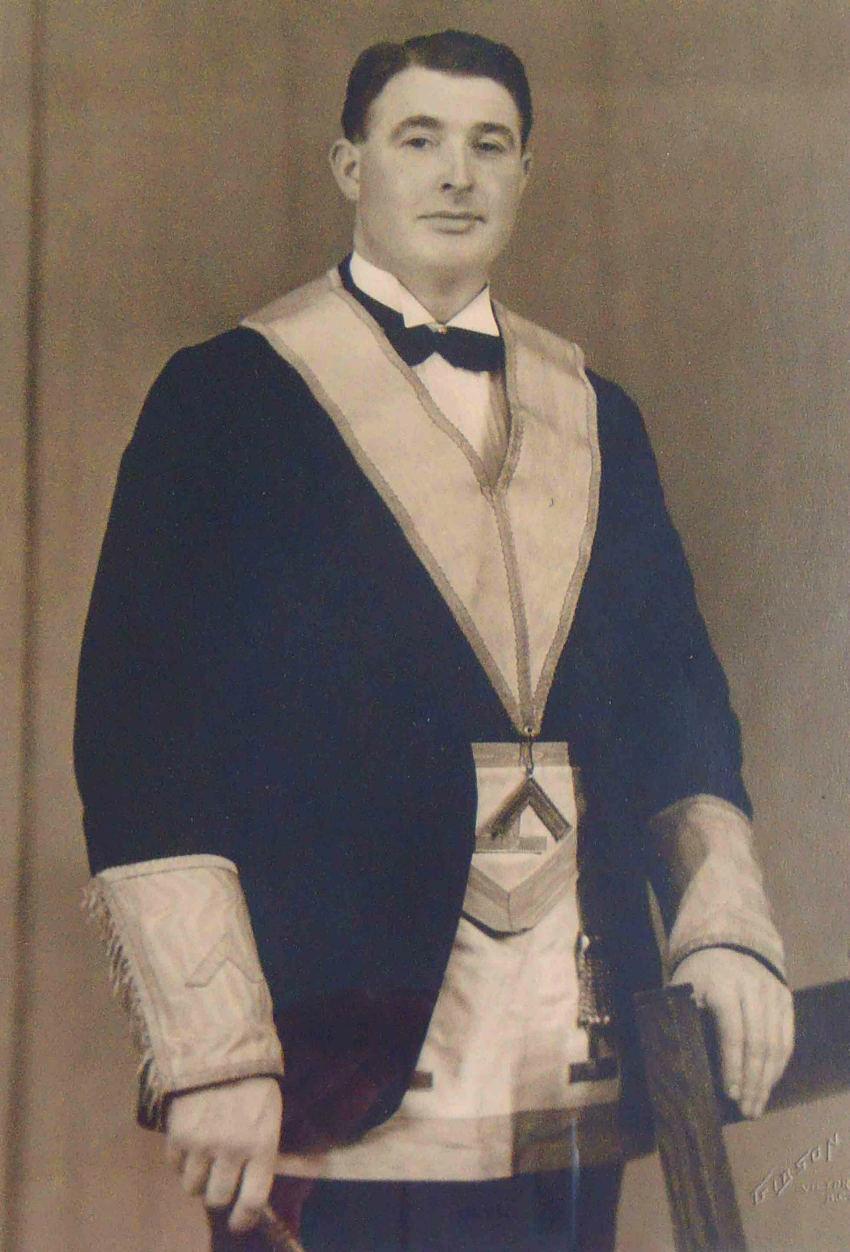 Claude Alfred John Green as Worshipful Master of Temple Lodge, No.33 in 1941