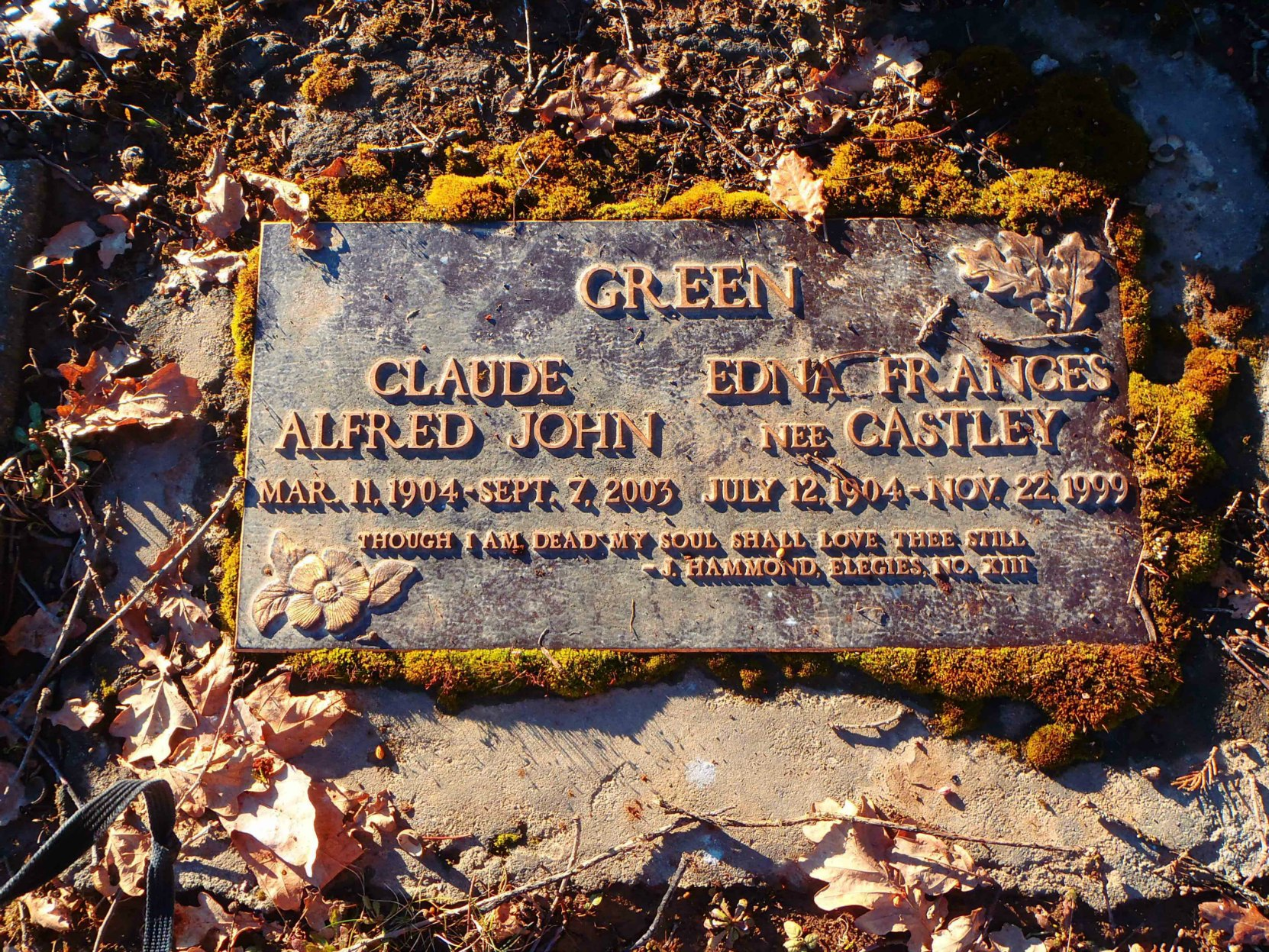 Claude Green and Edna Green grave marker, St. Mary's Somenos cemetery