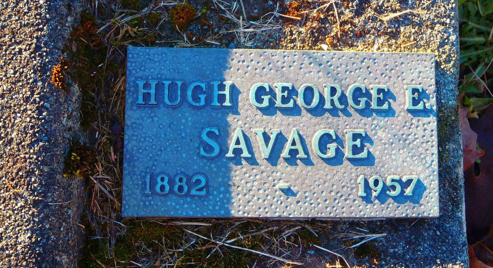 Hugh George Savage grave marker, St. Mary's Somenos cemetery, North Cowichan, B.C.