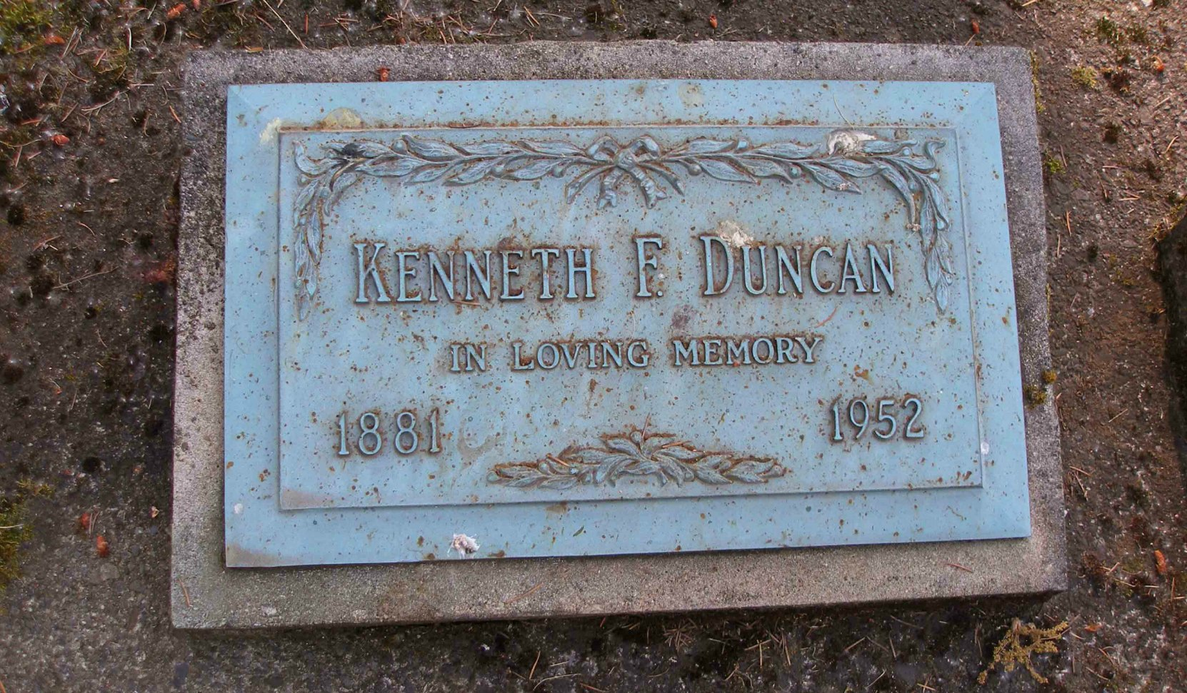 Headstone on Kenneth Forrest Duncan grave, St. Peter's Quamichan cemetery, North Cowichan, B.C.