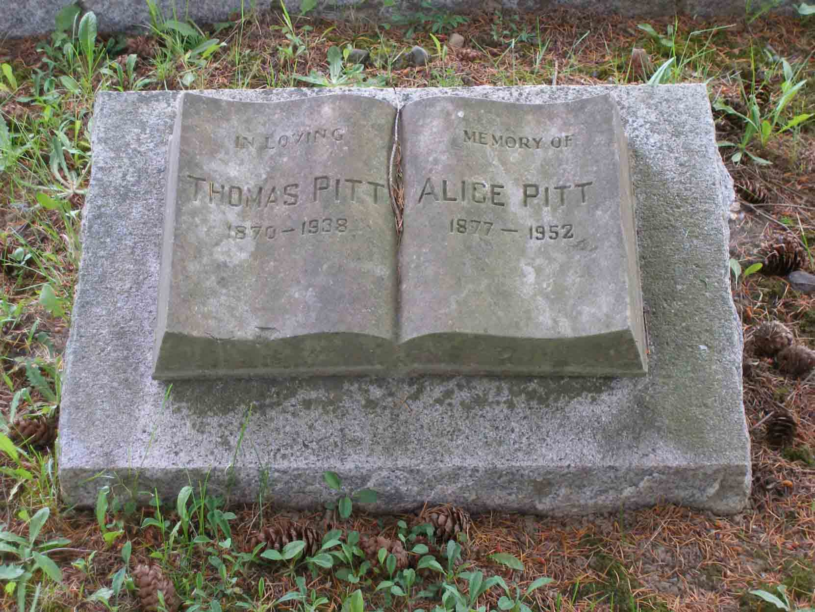 Headstone on the grave of Thomas Pitt and his wife, Alice Pitt, Mountain View Cemetery, North Cowichan, B.C.