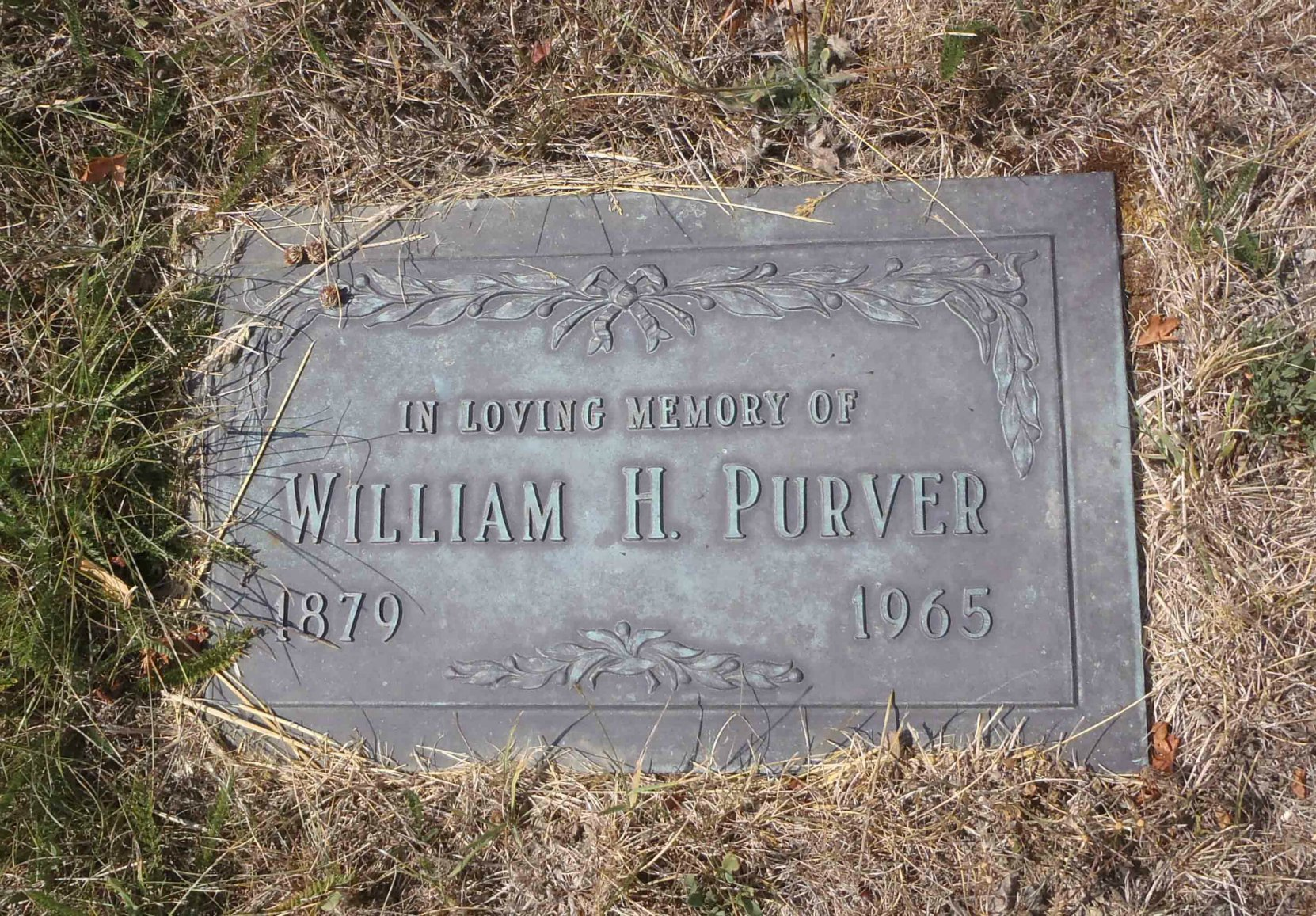 William Harrington Purver grave marker, St. Mary's Somenos cemetery, North Cowichan