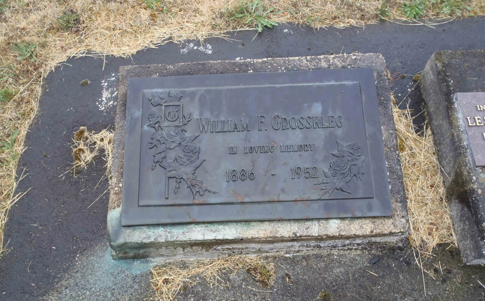 William Grosskleg grave marker, Mountain View Cemetery, North Cowichan