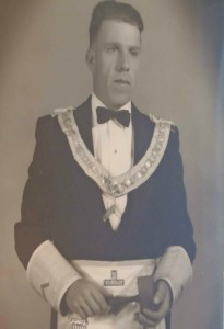 Harvey Dean Painter as Worshipful Master of Temple Lodge, No.33 in 1957