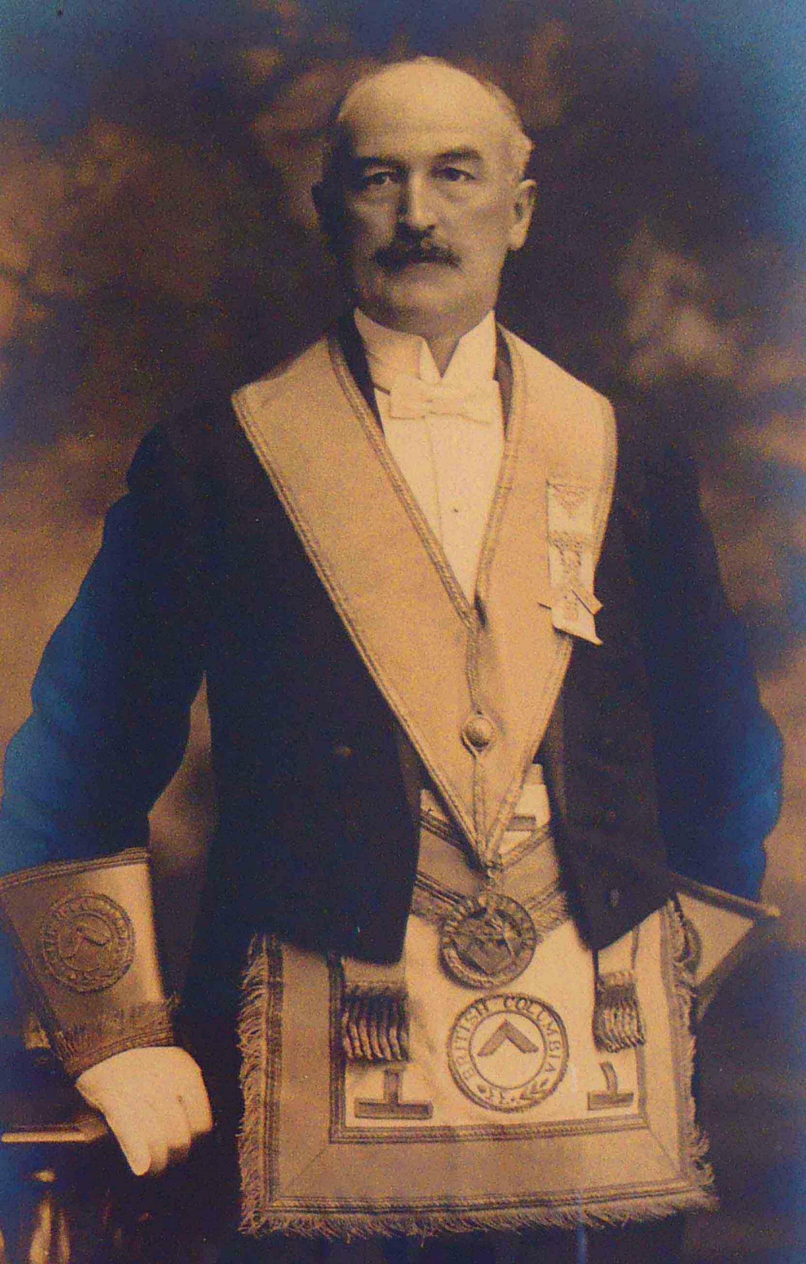 Thomas Pitt as District Deputy Grand Master, 1918
