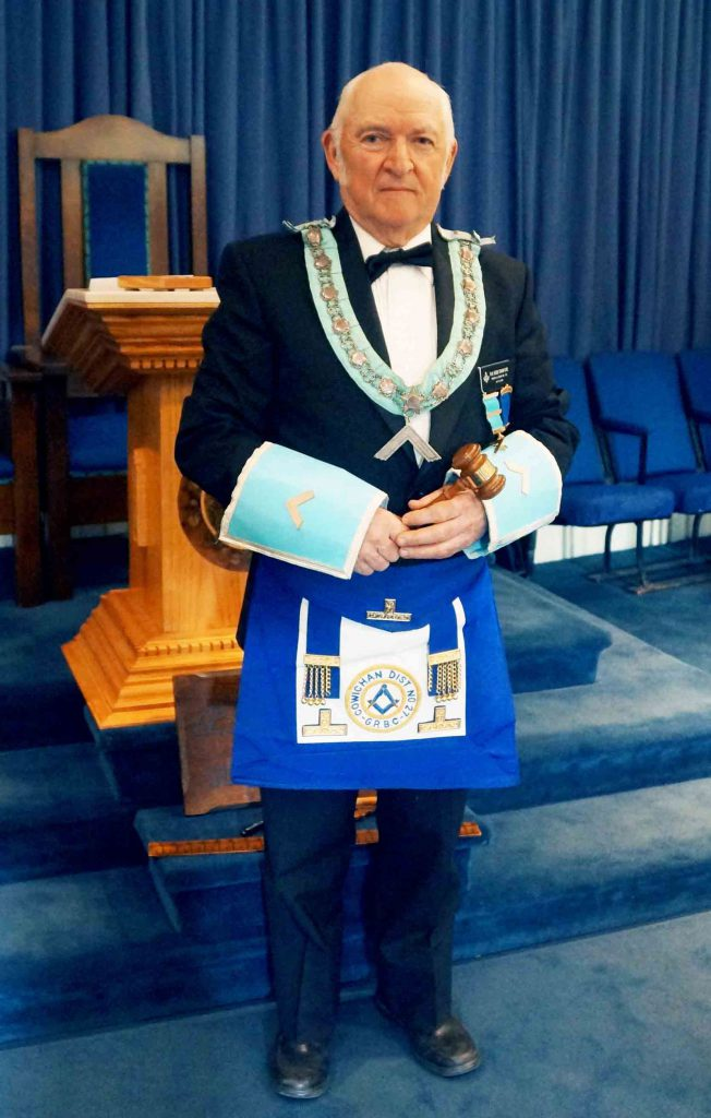 R.W.B. Bob Crawford as Worshipful Master of Temple Lodge No. 33, April 2015 (photo by Temple Lodge No. 33 Historian)